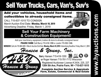Sell Your Trucks, Cars, Van's, Suv's