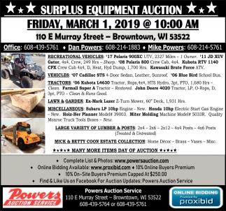 Surplus Equipment Auction