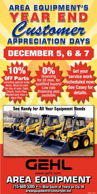Area Equipment's Year End