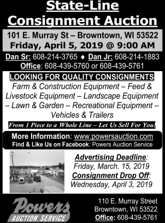 State-Line Consignment Auction