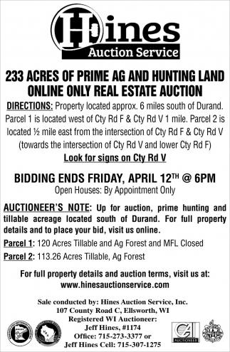 233 Acres of Prime AG and Hunting Land Online Only Real Estate Auction