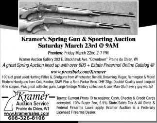 Kramer's Spring Gun & Sporting Auction Saturday