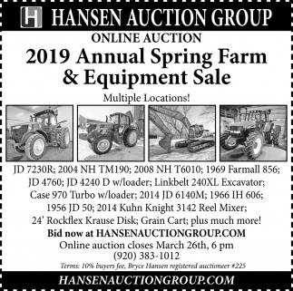 2019 Annual Spring Farm & Equipment Sale