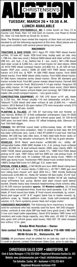 Tractors & Skid Steer
