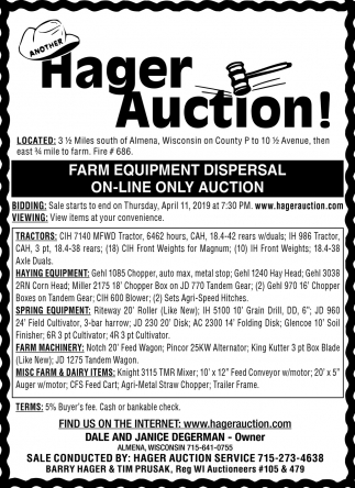 Farm Equipment Dispersal On-Line Only Auction, Hager Auction