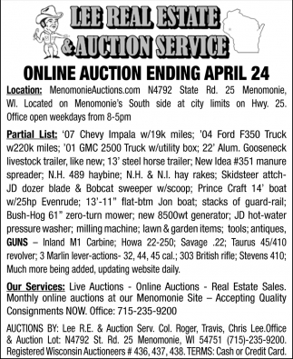 Online Auction Ending April 24