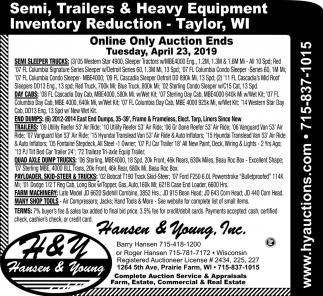 Semi, Trailers & Heavy Equipment Inventory Reduction