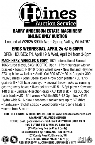 Barry Anderson Estate Machinery Online Only Auction