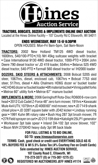 Tractors, Bobcats, Dozers & Implements Online Only Auction