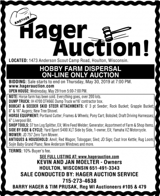 Hobby Farm Dispersal On-Line Only Auction