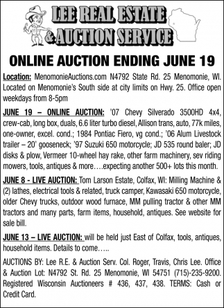 Online Auction Ending June 19