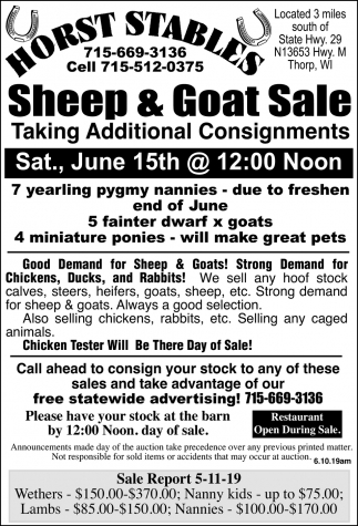 Sheep & Goat Sale