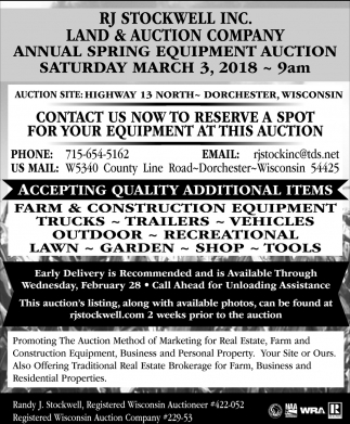 Complete Farm Line Farm Dispersal Auction