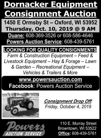 Dornacker Equipment Consignment Auction