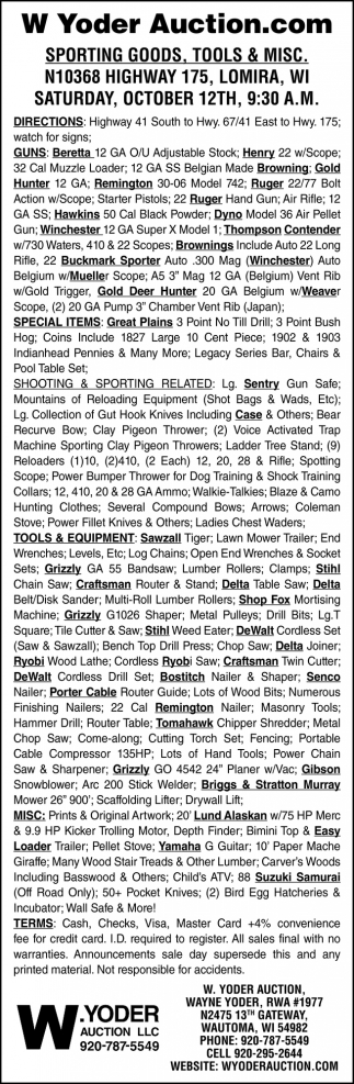 Sporting Goods, Tools & Misc