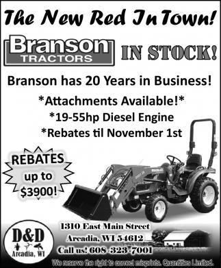 Branson Tractors In Stock!