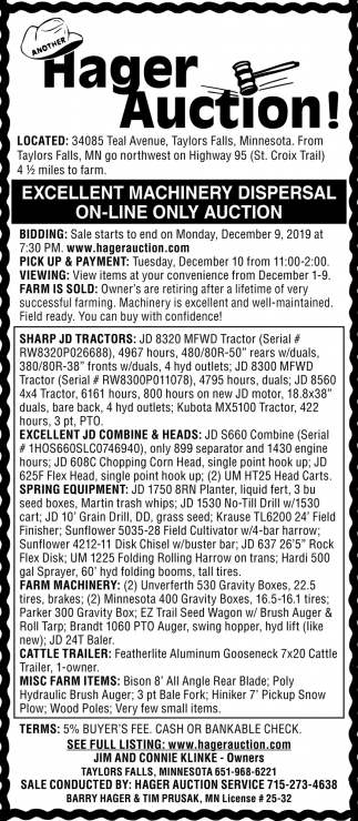 Excellent Machinery Dispersal On-Lune Only Auction