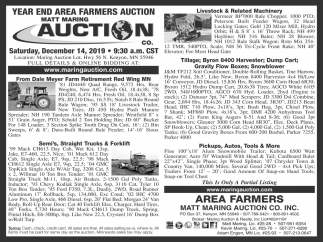 Year End Area Farmers Auction
