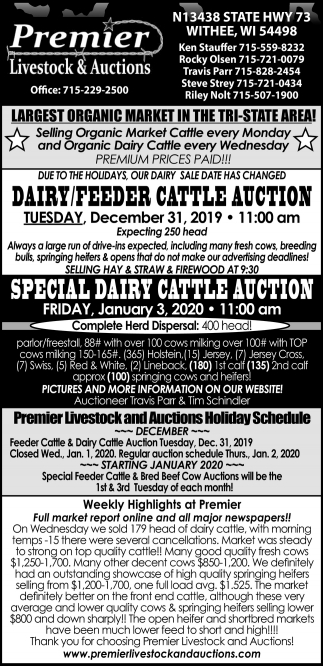 Dairy/Feeder Cattle Auction