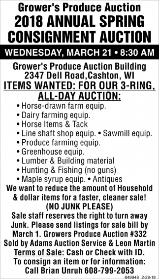 2018 Annual Spring Consignment Auction