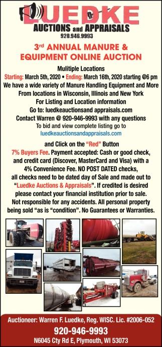 3rd Annual Manure & Equipment Auction