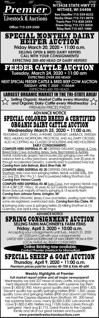 Special Monthly Dairy Heifer Auctio