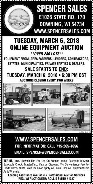 Online Offsite Equipment Auction