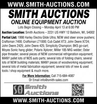 Online Equipment Aucion