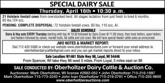 Special Dairy Sale & Heifer Sale