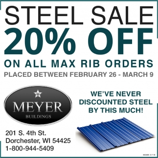 Steel Sale 20% OFF