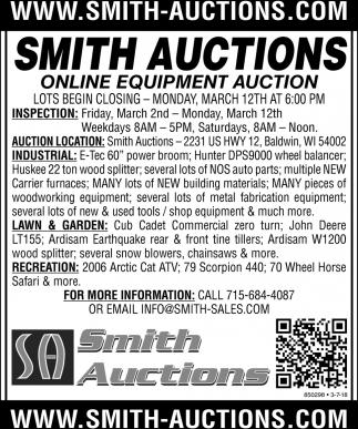 Online Equipment Auction