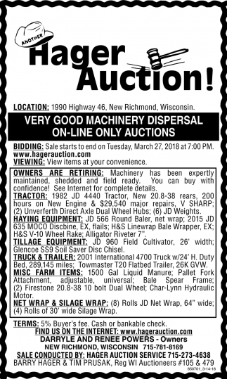 Very Good Machinery Dispersal On-line Only Auctions