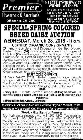 Special Spring Colored Breed Dairy Auction