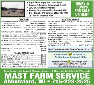 Tanks & Pumps for Sale or Rent