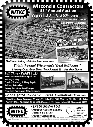 Wisconsin Contractors 53rd Annual Auction