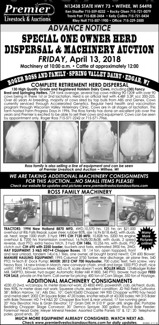 Special One Owner Herd Dispersal & Machinery Auction