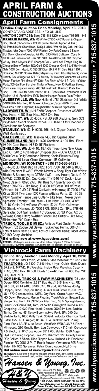 April Farm & Construction Auctions