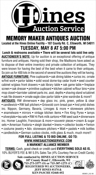 Memory Maker Antiques Auction