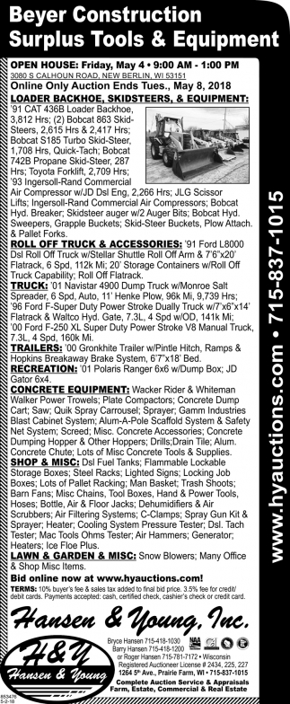 Beyer Construction Surplus Tools & Equipment