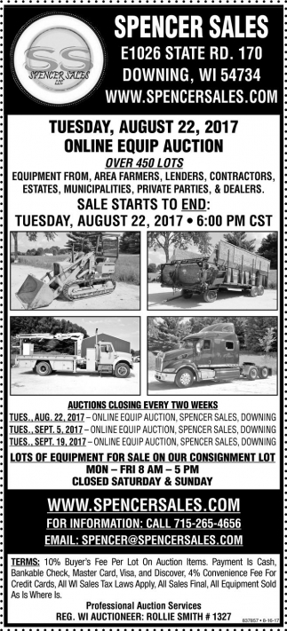 line Equip Auction Spencer Sales