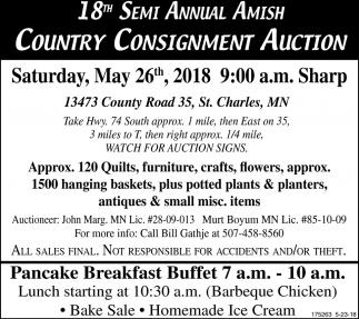 Country Consignment Auction, 18th Semi Annual Amish ...
