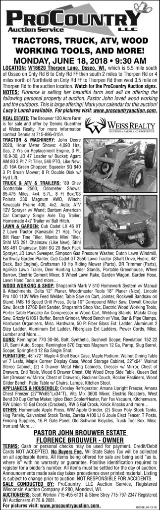 Tractors, Truck, ATV, Wood Working Tools and More!