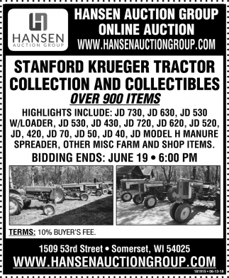 Stanford Krueger Tractor Collection and Collectibles