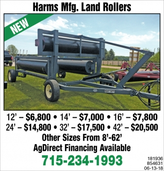 Harms Mfg. Land Rollers