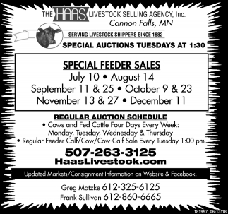 Special Auctions Tuesday